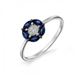 Женское кольцо из белого золота с сапфиром и бриллиантом