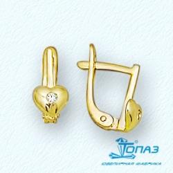 Детские серьги Сердце из желтого золота с бриллиантами