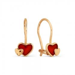Золотые серьги Сердце с эмалью