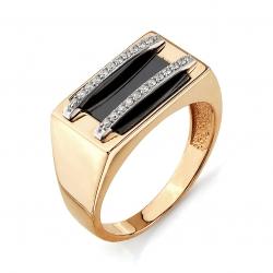 Золотое мужское кольцо с бриллиантами, эмалью