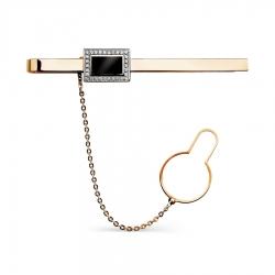 Золотой зажим для галстука с бриллиантами, эмалью
