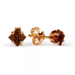 Золотые серьги-гвоздики с гранатом