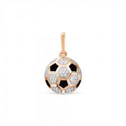 Золотая подвеска Футбольный мяч с эмалью, фианитами