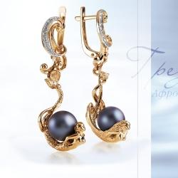 Золотые серьги Море с черным жемчугом, бриллиантами