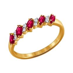 Золотое кольцо c рубинами и бриллиантами SOKOLOV