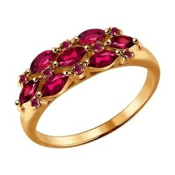 Золотое кольцо c рубинами SOKOLOV