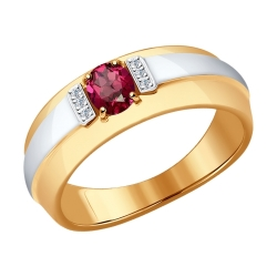 Золотое кольцо (Рубин, Бриллиант) SOKOLOV