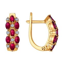 Золотые серьги c рубинами SOKOLOV