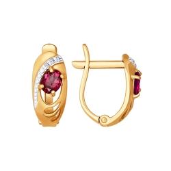 Серьги из золота с рубином SOKOLOV