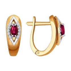 Серьги из комбинированного золота с рубином SOKOLOV