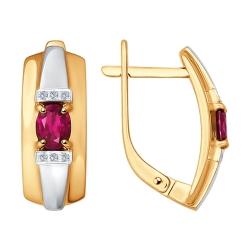 Золотые серьги (Рубин, Бриллиант) SOKOLOV