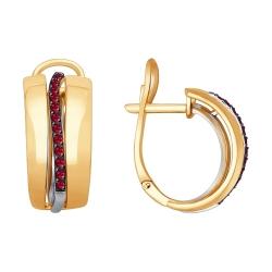 Серьги из комбинированного золота с рубинами