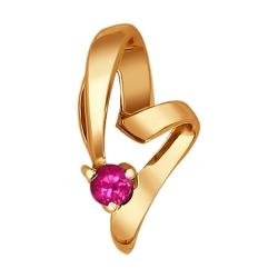 Золотая подвеска в виде сердца c рубинами SOKOLOV