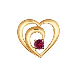 Золотая подвеска Love с рубином SOKOLOV