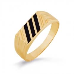 Золотая печатка с ониксами