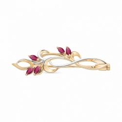 Золотая брошь Растения с рубином