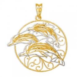 Подвеска Дельфины из желтого золота