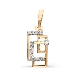 Золотая подвеска Геометрия с бриллиантами