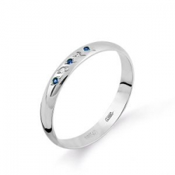 Обручальное кольцо из белого золота с сапфиром и бриллиантом