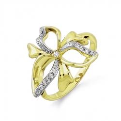 Кольцо Бантик из желтого золота с фианитами