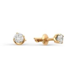 Золотые серьги гвоздики с крупными бриллиантами