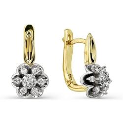 Серьги в виде цветов с бриллиантами