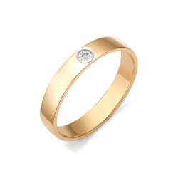 Плоское обручальное кольцо с бриллиантом