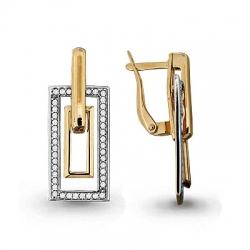 Золотые серьги висячие Геометрия с фианитом