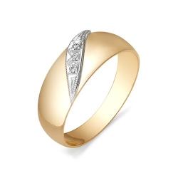 Обручальное кольцо со вставкой из белого золота