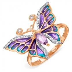 Золотое кольцо с эмалью и аметистом, фианитами
