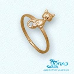 Детское золотое кольцо Котенок с фианитом