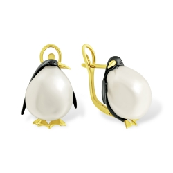 Эксклюзивные серьги Пингвины из жёлтого золота с жемчугом и бриллиантами