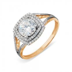 Золотое кольцо с топазом Swarovski и бриллиантами