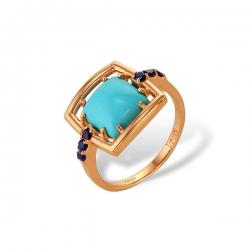 Кольцо из золота 585 пробы с алпанитами и бирюзой