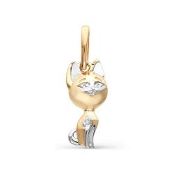 Детская золотая подвеска в виде котенка