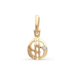 Золотая подвеска со знаком доллара США