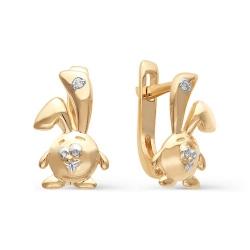 Детские золотые серьги в виде зайчиков