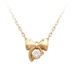 Золотое колье Бантик с одним бриллиантом