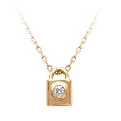 Золотое колье Замок с одним бриллиантом