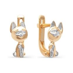 Золотые серьги в виде котят с бриллиантами
