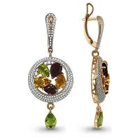 Золотые серьги висячие с цветными камнями