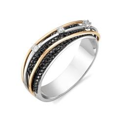 Кольцо из белого золота с черным бриллиантом