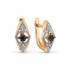 Золотые серьги с бриллиантами, Swarovski Zirconia
