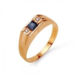 Золотая печатка с сапфиром, бриллиантами