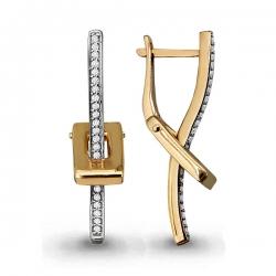 Золотые серьги Геометрия с фианитом