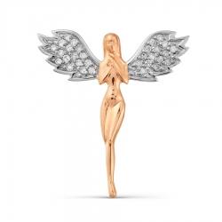 Золотая подвеска Ангел с бриллиантами