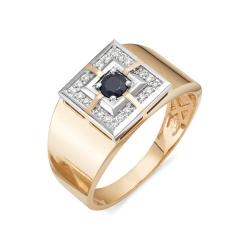 Мужское кольцо с сапфиром и бриллиантами