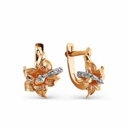 Золотые серьги Цветы с бриллиантами