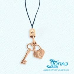 Золотая подвеска Замок и ключ