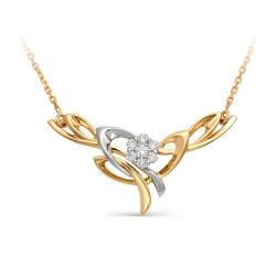 Золотое колье Растение с бриллиантами